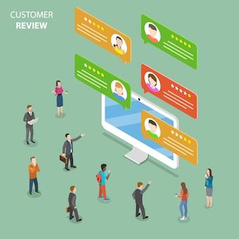 Flaches isometrisches konzept der kundenbewertung.