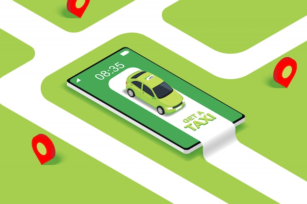 Flaches isometrisches konzept der mobilen online-taxibestelldienst-app