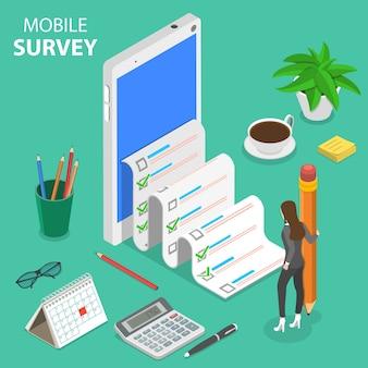 Flaches isometrisches konzept der mobilen umfrage, kundenbewertung, feedback-service.