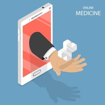 Flaches isometrisches konzept der on-line-medizin.