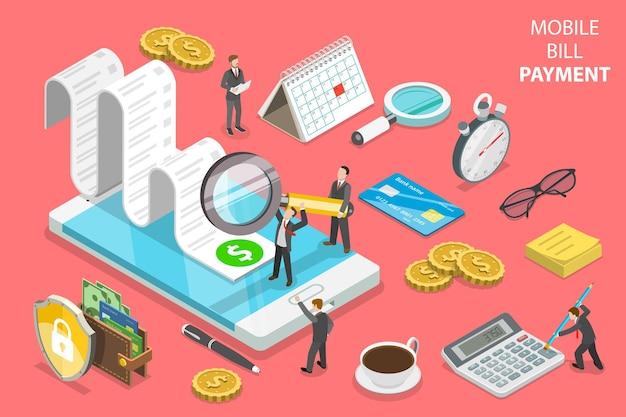 Flaches isometrisches konzept der online-rechnungszahlung, einkaufen, banking, buchhaltung.