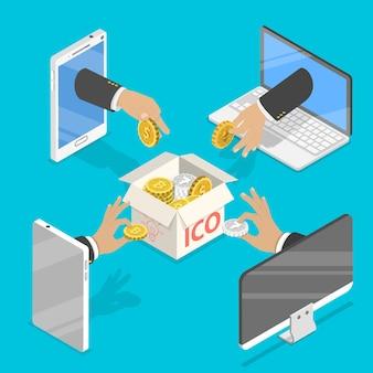 Flaches isometrisches konzept des anfänglichen münzangebots, des ico-tokens, des crowdfunding, der blockchain und des starts von digitalem geld.