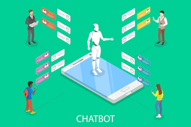 Flaches isometrisches konzept des chat-bots.