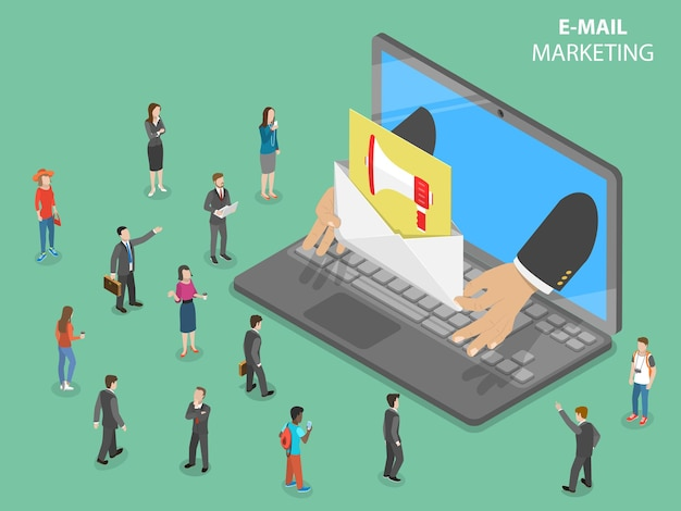 Flaches isometrisches konzept des e-mail-marketings.