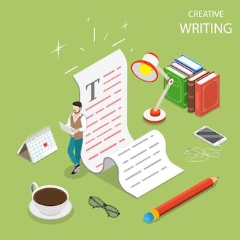 Flaches isometrisches konzept des kreativen schreibens, des copywritings, der inhaltserstellung.