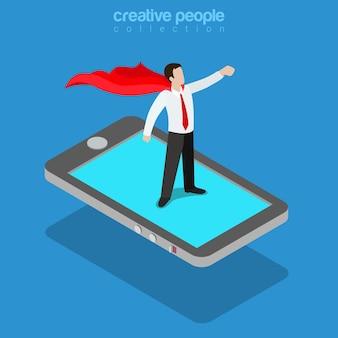 Flaches isometrisches konzept des mobilen superhelden