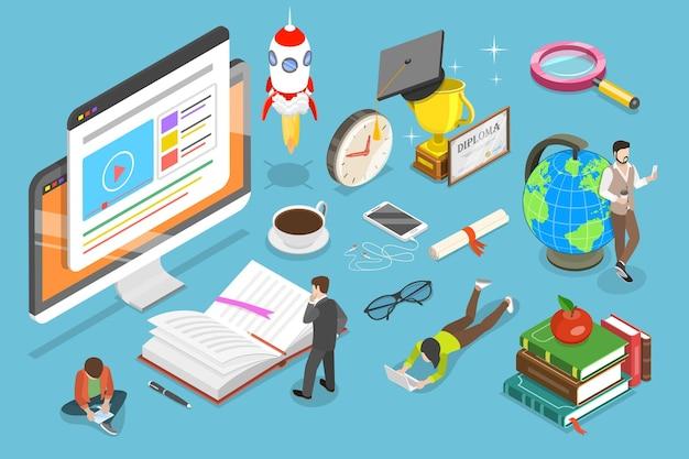 Flaches isometrisches konzept für online-bildung, e-learning, webinar, training