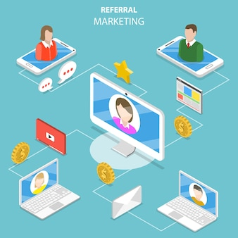 Flaches isometrisches konzept von netzwerk- und affiliate-marketing