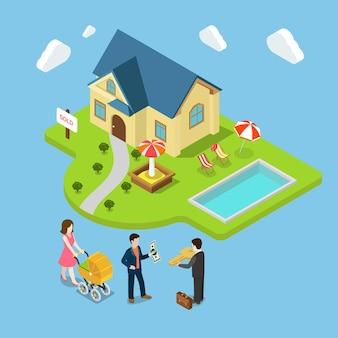 Flaches isometrisches neues familienhaus 3d verkauft immobiliengeschäftskonzept