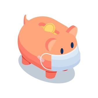 Flaches isometrisches sparschwein 3d, das medizinische gesichtsmaske auf weißem hintergrund trägt. finanzkrise und geldeinsparungen während der covid-19-pandemie.