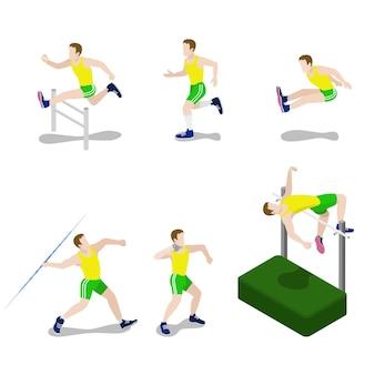 Flaches isometrisches stilsportler männliches sportkonzept