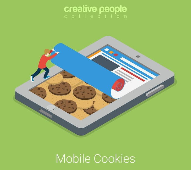 Flaches isometrisches technologiekonzept der mobilen cookies cookie auf hintergrund des touchscreen-tablet-browser-schnittstellenfensters und des benutzers.