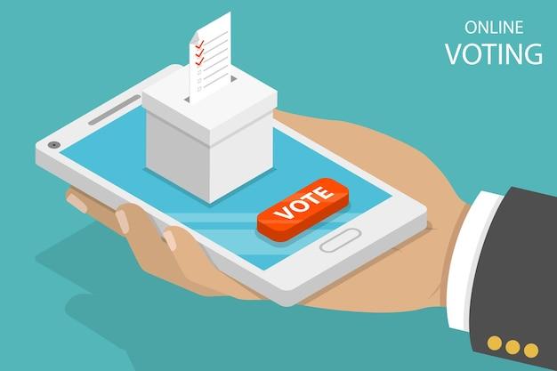 Flaches isometrisches vektorkonzept, das online abstimmt, e-voting, internet-wahlsystem.