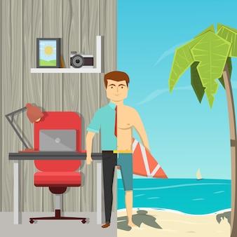 Flaches karikaturbild des mannes geteilt durch halb gespreizte büroarbeit und strandfreizeit