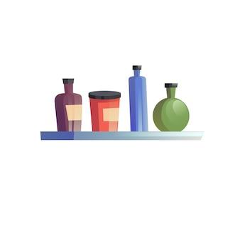 Flaches karikaturregal mit verschiedenen flaschen, innenelementvektorillustrationskonzept