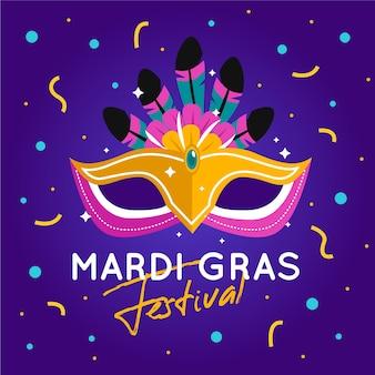 Flaches karnevalkonzept mit maske