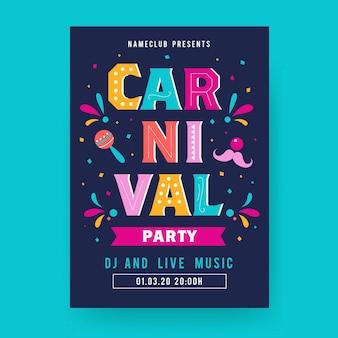 Flaches karnevals-parteiplakat