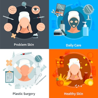 Flaches konzept der hautpflege, das mit täglicher pflege der problemhaut und gestaltungszusammensetzungen der plastischen chirurgie eingestellt wird, vector illustration