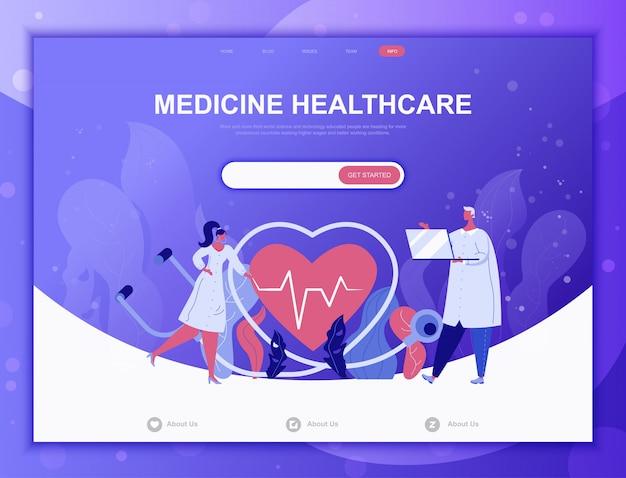 Flaches konzept der on-line-medizin, zielseitenweb-schablone