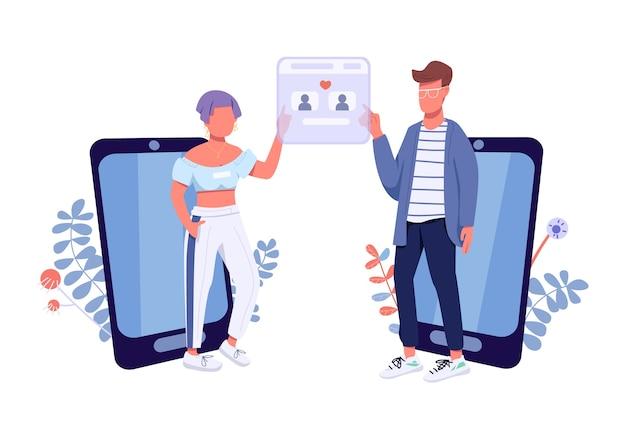 Flaches konzept der online-dating-app. 2d-zeichentrickfiguren von freundin und freund für webdesign. romantische match finding-anwendung, generation z romantik kreative idee
