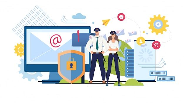 Flaches konzept der online-nachrichtensicherheit