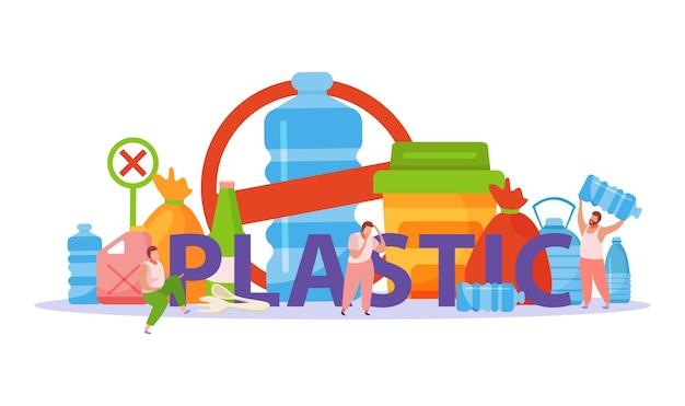 Flaches konzept der selbstpflege mit großer plastiktüte und abstrakter abbildung der zusammensetzung der plastikverschmutzung