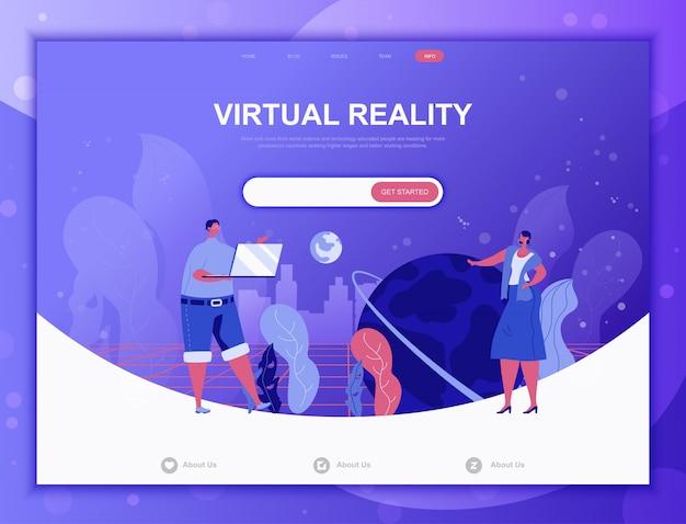 Flaches konzept der virtuellen realität, zielseitenweb-schablone