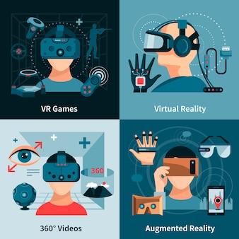 Flaches konzept der virtuellen realität