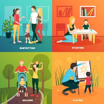 Flaches konzept des entwurfes 2x2 der babysitterleute mit bunten zusammensetzungen von elternkindern und von zarten menschlichen charakteren