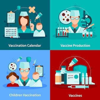 Flaches konzept des entwurfs der impfung mit impfkalender und satz medizinische werkzeuge und impfstoffprodukte vector illustration