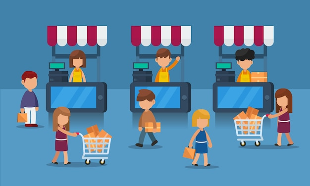 Flaches konzept des mobilen e-commerce mit kunden, digitales marktkonzept