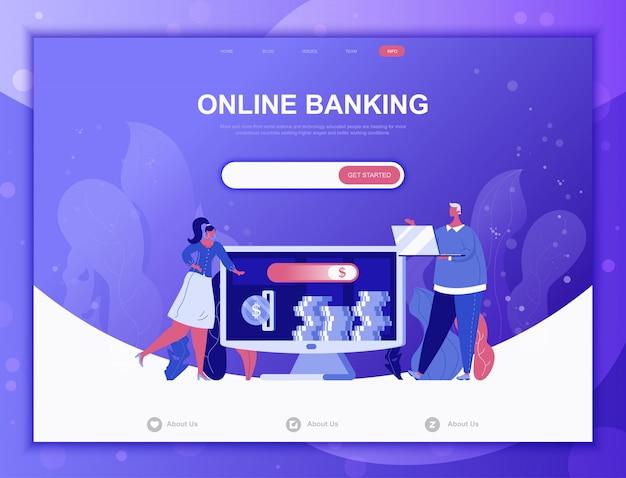 Flaches konzept des online-bankings, zielseiten-netzschablone