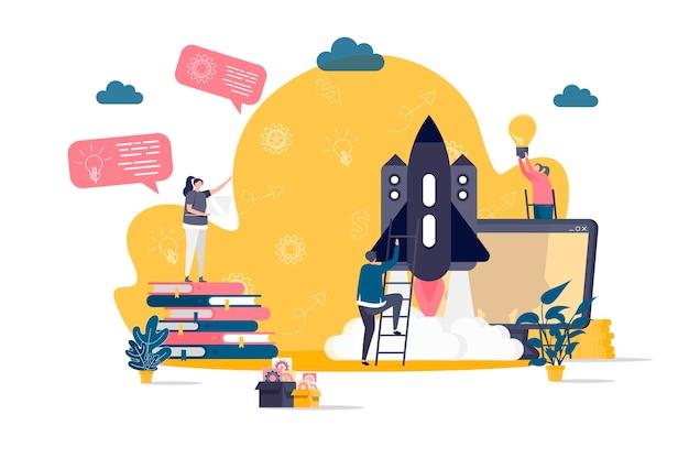 Flaches konzept des startprojekts mit personencharakterillustration