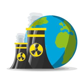 Flaches konzept kernkraftwerk generator energie