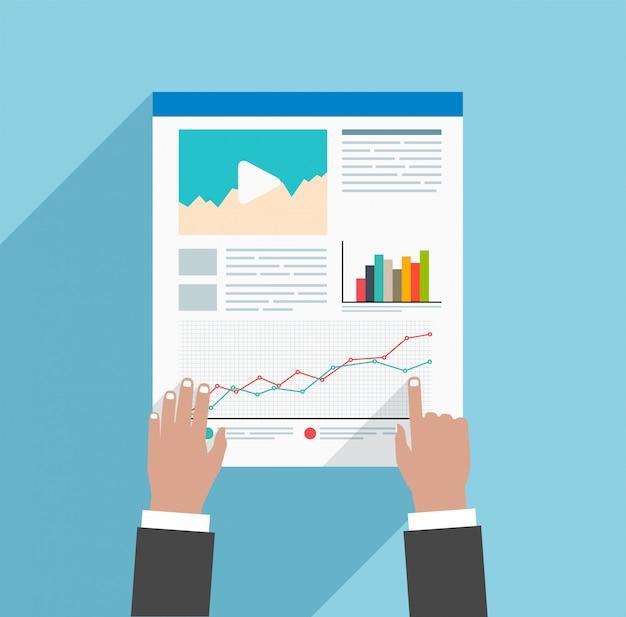 Flaches konzept unter verwendung der geschäftsstrategie oder der infografiken, projektpräsentation, entwicklung, webdesign.
