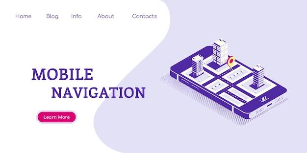 Flaches konzeptkonzept-banner für die mobile navigation. smartphone in isometrischer ansicht mit karte und zeiger auf dem bildschirm. flache artillustration.