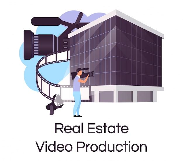 Flaches konzeptsymbol der immobilienvideoproduktion. hausverkaufswerbung, die aufkleber, clipart schafft. aufbau von werbe- und promotion-shooting. isolierte karikaturillustration auf weißem hintergrund