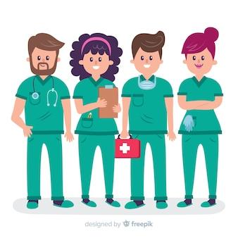 Flaches krankenschwesterteam