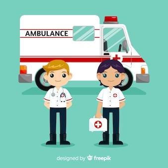 Flaches krankenwagen-team