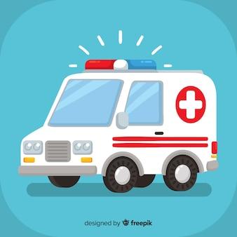 Flaches krankenwagenkonzept