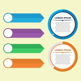Flaches kreisförmiges diagramm infografik-set