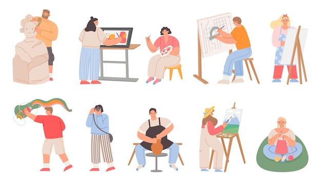 Flaches künstlervolk, maler, bildhauer, fotograf und architekt. handwerklicher beruf, tätigkeit oder hobby. frauen nähen und stricken vektorset
