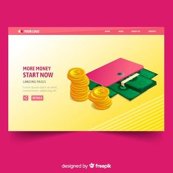 Flaches landing-page-geld mit geldbörse