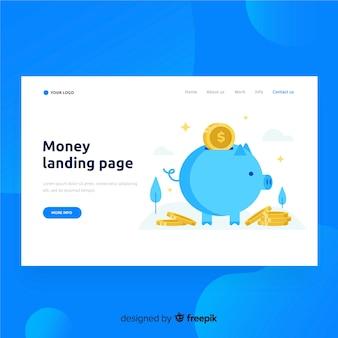 Flaches landing-page-geld mit sparschwein