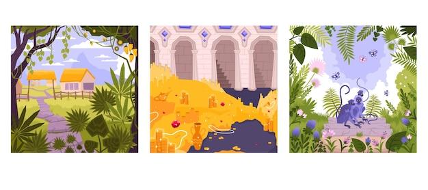 Flaches landschaftskartenset mit natur und tieren