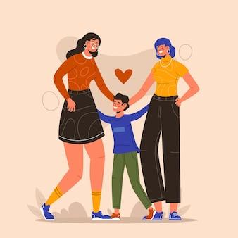Flaches lesbisches paar mit einem kind