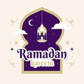 Flaches lila ramadan-design