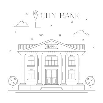 Flaches linienentwurf der bankgebäudefassade, vorderansicht. Premium Vektoren