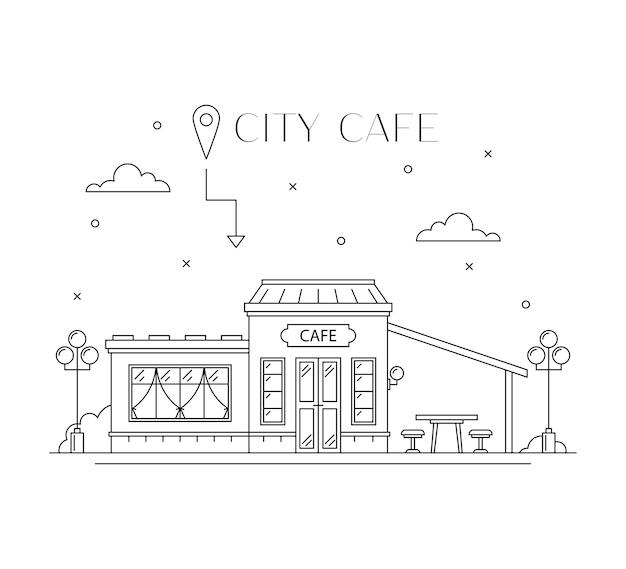 Flaches linienentwurf der cafe-gebäudefassade, vorderansicht.
