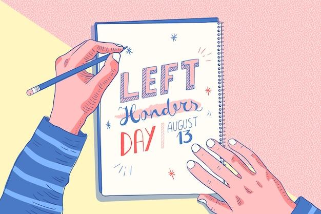 Flaches linkshänder-tageskonzept
